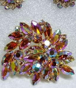 MAGNIFICENT Amber Aurora Borealis Rhinestone Brooch PIERCED Earrings