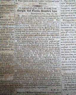 FL Florida ANTEBELLUM Georgia 1854 Pre Civil War OLD Newspaper