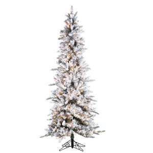 7.5 Pre Lit Slim Flocked Pine Artificial Christmas Tree