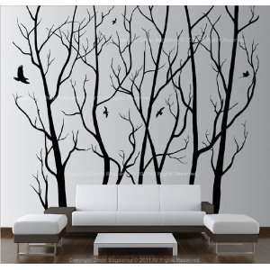 Wall Art Decor Removable Large Black Vinyl Tree Forest Sticker