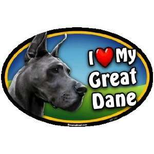 Oval Car Magnet   I Love My Great Dane