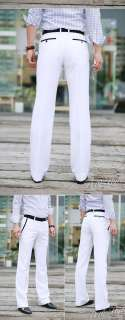 Mens Luxury Premium Skinny Dress Pants White M L XL