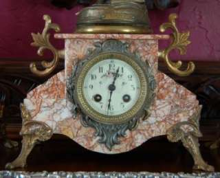 ANTIQUE FRENCH ART NOUVEAU PINK MARBLE CLOCK GARNITURE