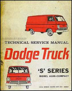 1964 1965 Dodge A 100 Van & Sportsman Shop Manual A100