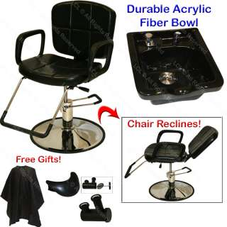 RECLINING HYDRAULIC BARBER CHAIR ACRYLIC FIBER SHAMPOO BOWL SINK SALON