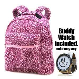 Leopard Print Pink Plush Backpack