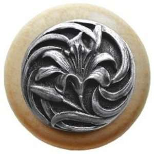 Hill Tiger Lily natural Cabinet Knob Antique Pewter