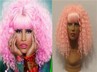 DELUXE NICKI MINAJ LONG PINK CANDY CURLY PERMED AFRO STYLE 80S WIG