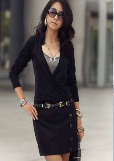 NEW Womens Lapel Opening Neck Long Sleeve Dresses 1916