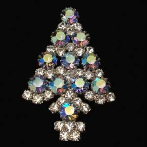 Christmas Xmas Tree Pin Anthony Attruia Rhinestones