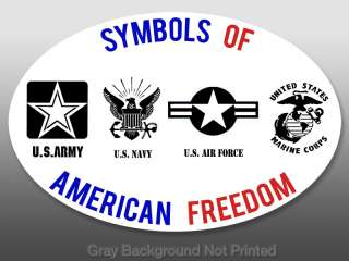 Oval Symbols of American Freedom Sticker  decal US logo army navy air