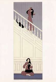 WILL BARNET woman and black cat WHITE STAIRWAY