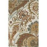 Floral Hand Looped and Tufted Ivory, Beige and Green Rug   2 6 x 8