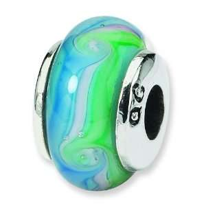 Kids Sterling Silver Blue Hand Blown Glass Bead Arts, Crafts & Sewing
