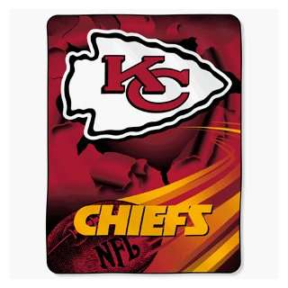 Kansas City Chiefs NFL Royal Plush Raschel Blanket (Big Burst Series