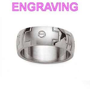 com Mens Stainless Steel Brushed Polished Modern 7 mm Wide Band Ring