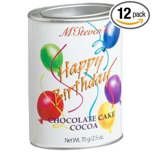 Happy Birthday Chocolate Cake Cocoa, 2.5 Ounce Tins (Pack of 12