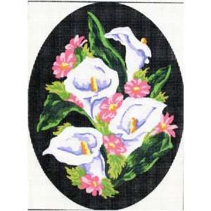 OVAL CALLA LILIES NEEDLEPOINT CANVAS Arts, Crafts