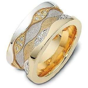 14 Karat Two Tone Gold Multi Texture Unique Diamond Wedding Band Ring