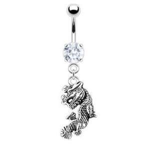 Dangling Flying Dragon Belly Button Navel Ring Dangle with