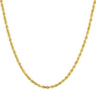 Yellow Gold 3.0mm Solid Diamond Cut Rope Chain Necklace, 20 Jewelry