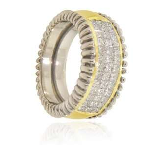 14K Two Tone Gold Designer Diamond Ring Jewelry
