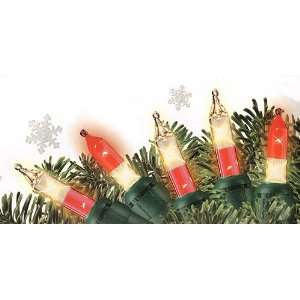 Set Of 100 Red & Clear Double Christmas Lights   Green