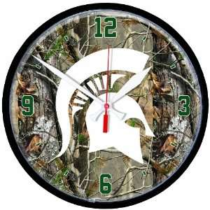 NCAA Michigan State Spartans Round Clock RealTree  Sports