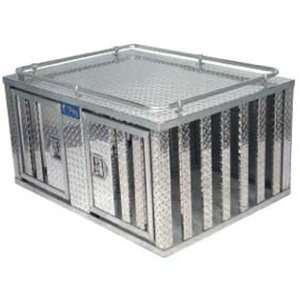48 Aluminum Dog Box Double Door with Divider and Floor Automotive