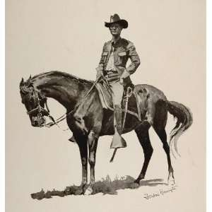 1902 Print Frederic Remington Army Officer Sword Horse