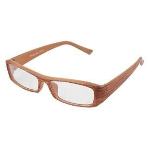 Como Plastic Wood Grain Full Rim Clear Lens Eyewear Glasses