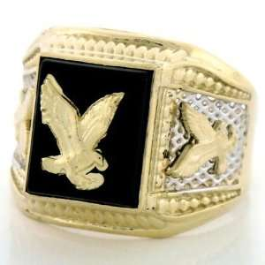 14K Two Tone Gold Onyx Mens Ring W/ Eagle Designs Jewelry