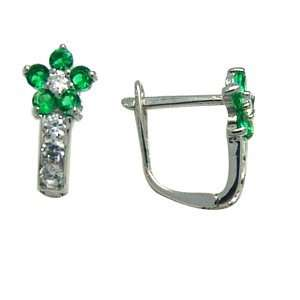 Green   Flowering CZ Star 14k White Gold Huggie Earrings Jewelry
