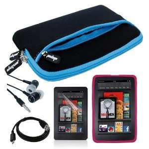 com Black with Blue Trim Glove Case + Pink Silicone Skin Case + Clear