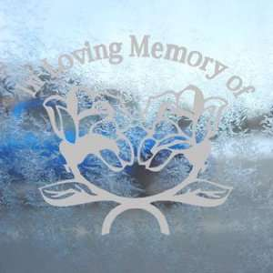In Loving Memory Roses Gray Decal Truck Window Gray