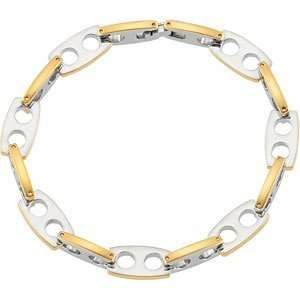Mens Stainless Steel Gold IP Anchor Link Bracelet, 8.50