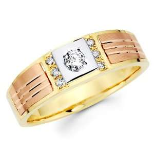 14K 3 Tri color Gold Round cut Diamond Mens Engagement Wedding Ring