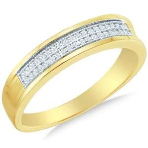 Size 10   10K Yellow and White Two Tone Gold Diamond MENS Wedding Band