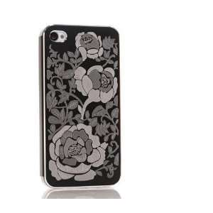 com Flower print metal case Unique design back cover skin for iPhone
