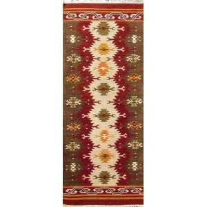 Multi colored Hand Knotted 2 X 8 Handmade Wool Runner Kilim Area Rug
