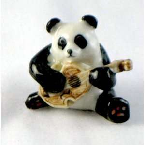 Panda Bear plays the GUITAR in a Panda Band MINIATURE Porcelain New