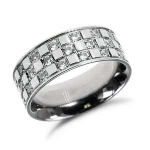 Ladies Stainless Steel Band Ring with Cubic Zirconia, 5 Jewelry
