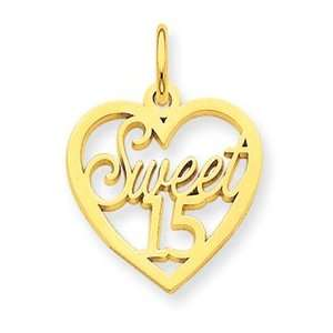 14k Sweet 15 Charm   Measures 21.9x16mm   JewelryWeb Jewelry
