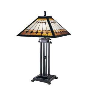 Tiffany TT100131 Mission Table Lamp, Mica Bronze and Art Glass Shade