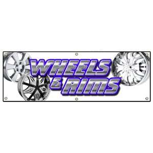 RIMS BANNER SIGN chrome rim wheel tires signs Patio, Lawn & Garden