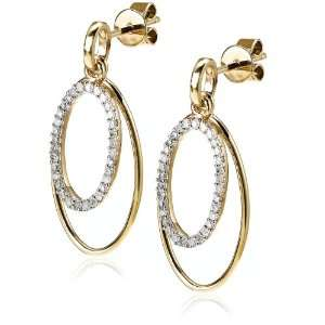 10k Yellow Gold Diamond Hoop Earrings (1/4 cttw, I J Color, I3 Clarity