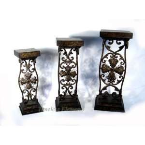 of 3 Metal Square Scroll Design Pedestal Stand Tables