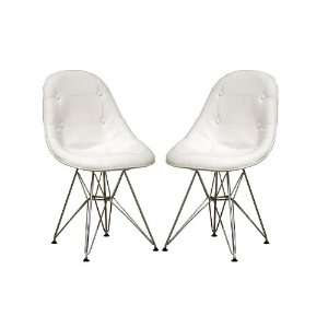 Ami Modern White Faux Leather Side Chair