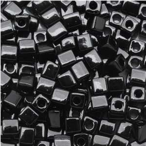 Miyuki 4mm Glass Cube Beads Opaque Black #401 10 Grams