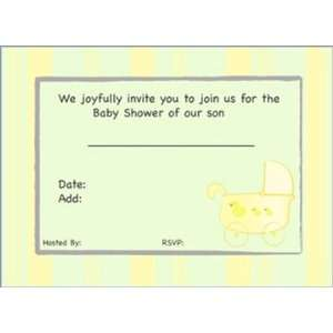 Baby Carriage Shower Invitations (ColorBLBlue) Baby
